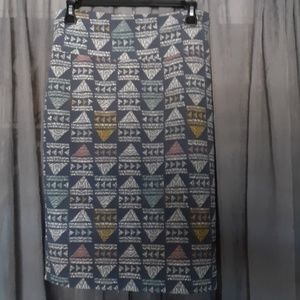 Blue, Gray, Yellow, and Pink LuLaRoe Cassie Skirt
